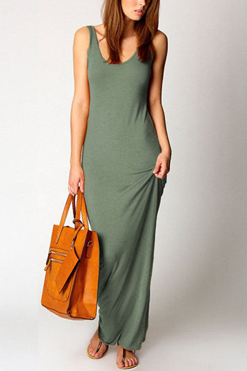 Green Sleeveless Scoop Neck Maxi Dress