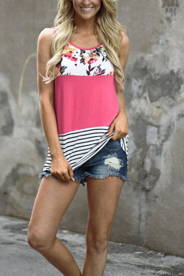 Pink Round Neck Floral Stripe Contrast Sleeveless Top