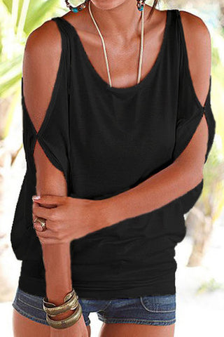 Black Cold Shoulder Scoop Neck Tie Back Top