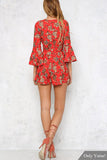 Red Floral Print Plungy Neckline Pleated Bottom Playsuit