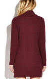 Burgundy High Neck Knitted Casual Long Sleeves Dress
