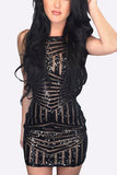 Black Halter Sequins Geometric Design Mini Dress