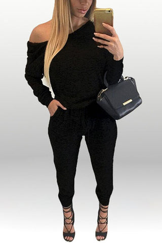 Black Drawstring Waist Long Sleeve Jumpsuit