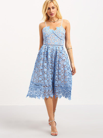 Blue Lace Flower Hollow Out Fit & Flare Lace Cami Dress - Crystalline