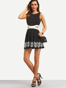 Chic Little Black Dress Sleeveless Hollow Patchwork Lace Dress - Crystalline