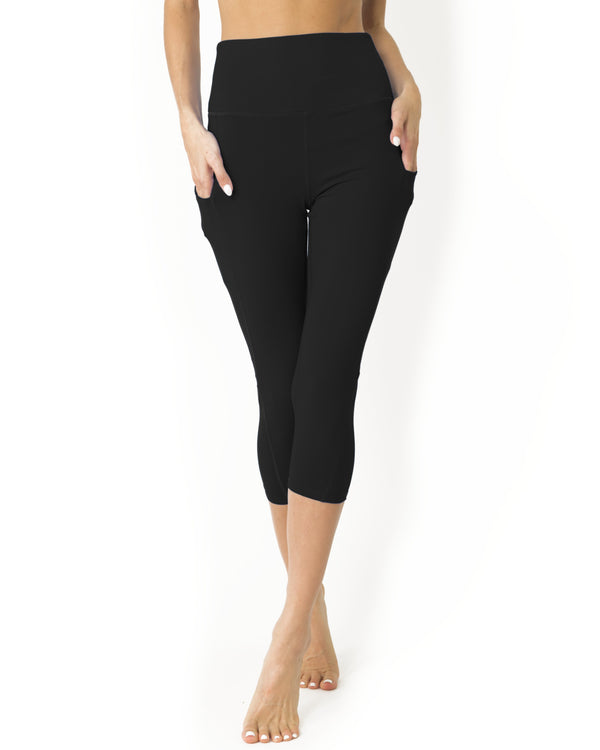 High Waisted Yoga Capri Leggings - Black