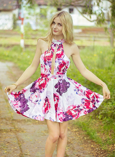 Floral Dress Spring - Multicolour Halter Floral Painted Patterns Print Flare Dress - Crystalline