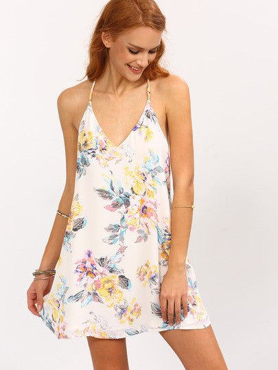 Fun Light Summer Multicolor Flower Print Strappy Swing Cami Dress - Crystalline