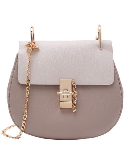Designer Inspired Contrast Faux Leather Gold Chain Saddle Buckle Bag - Crystalline