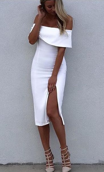 ☀ Make them stare ☀ White Off Shoulder Elegant Luxury Bodycon Sexy Cocktail Party Bandage Dress - Crystalline