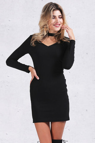 Apparel Autumn Halter Knitted Casual Black Dress Winter Elegant Bodycon Dress
