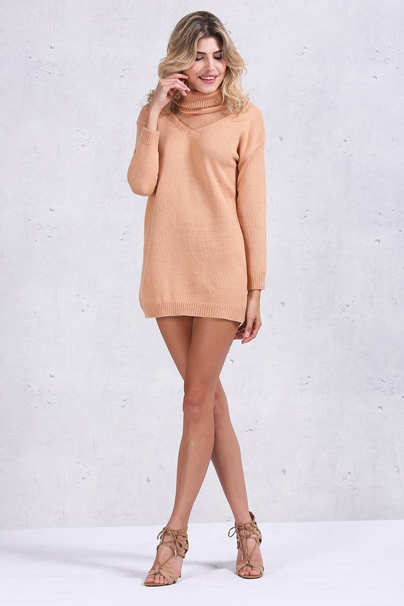 Halter Turtleneck sweater elegant knitted pullover - Crystalline