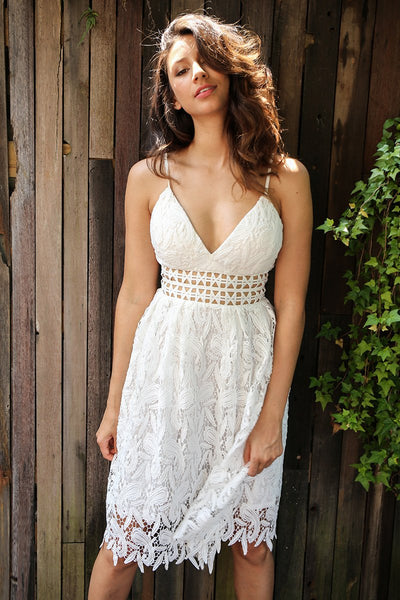 Deep V Padded Backless White Lace Dress Lined Summer
