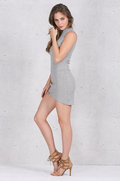 Apparel Elegant Gray Sleeveless Knitted Casual Dress Evening Party Dress