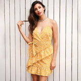 Sleeveless V Neck Ruffles Summer Backless Sashes Print Mini Dress