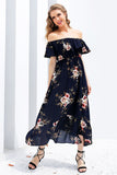 Simplee Off shoulder ruffle print long dress Women floral boho summer  dress 2017 sexy elastic waist maxi dresses new vestidos