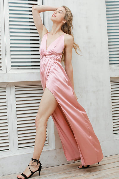 Slip Satin Backless Long Pajamas Summer Dress