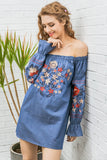 Vintage Embroidery Floral Denim Off Shoulder Long Sleeve Beach Summer Dress