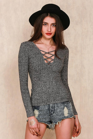 Apparel Autumn Charcoal V Neck Knitted Pullover Lace Up Slim Long Tops