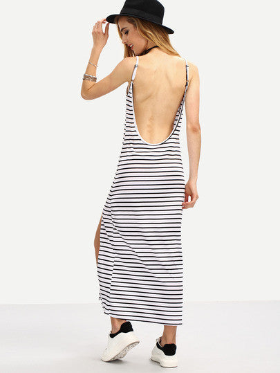 Long Maxi Black White Striped Backless Slit Cami Casual Summer Dress - Crystalline