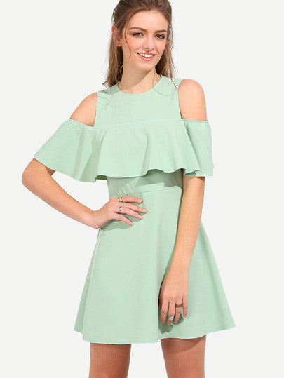 Mint Summer Green Half Sleeve Open Shoulder Ruffle Dress - Crystalline