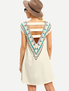 Open Back Tribal  Print Multicolor Sleeveless Hollow Back Dress - Crystalline