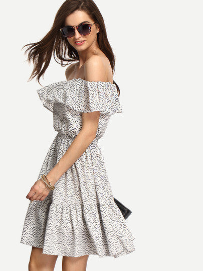 Polka Dot Summer Black and White Multicolor Off The Shoulder Trendy Lightweight Dress - Crystalline