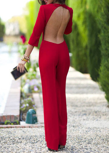 Open Back Straight Jumpsuit Three Quarter Sleeve - Crystalline