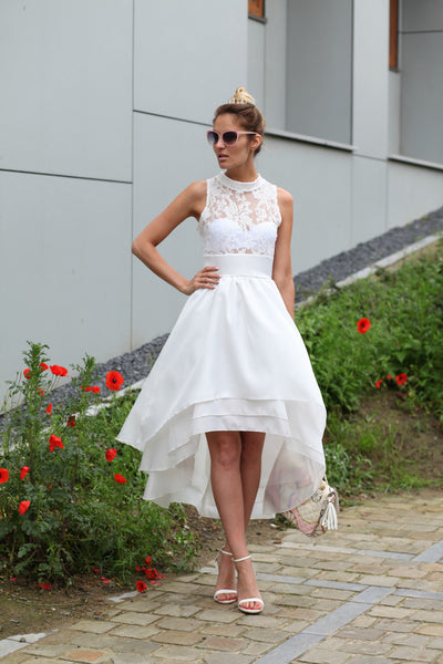 Romantic Delicate High Low Lace Top Assymetrical Mock Neck Dress - Crystalline