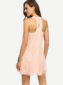 Romantic Elegant Summer Pink Sleeveless Hollow Shift Lace Dress - Crystalline