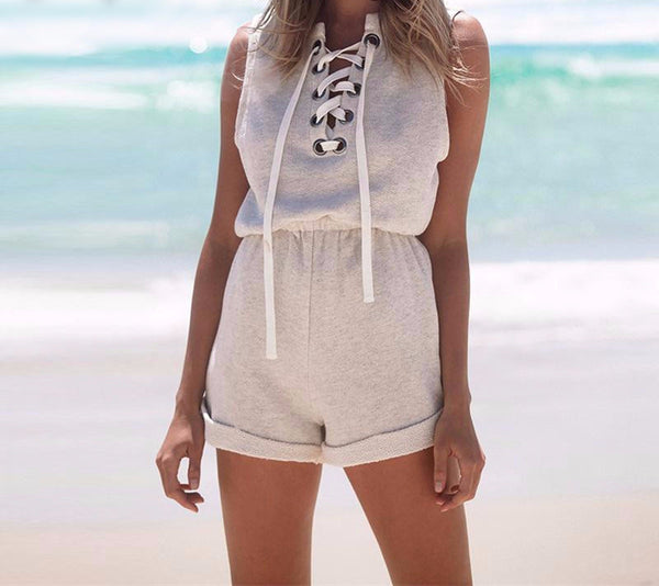 One piece Lace up jumpsuit romper - Crystalline