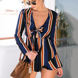 Sexy Navy Bow Striped Jumpsuit Romper - Crystalline