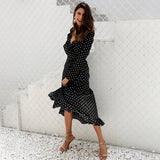 Polka Dot Ruffle Wrap V Neck Split Black Long Dress