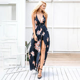 Sleeveless Deep V Neck Backless Split Chiffon Long Dress
