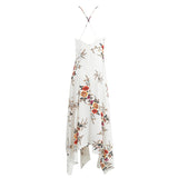 Flower Print Irregular Deep V Neck Backless Elegant Split Long Dress