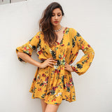 Print Lace Hollow Out Lantern Sleeve Loose Short Dress