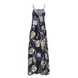 Boho Print V Neckline Straps Chic Drawstring Waist Loose Long Dress