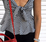Black Spaghetti Strap Bow Plaid Jumpsuit