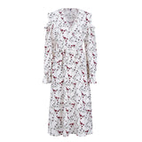 Cold Shoulder Ruffle Print Sash Long Sleeve Dress