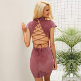 Mandarin Collar Elegant Backless Lace Up Vintage Dress