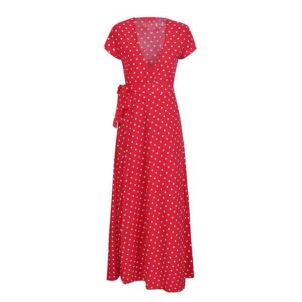 Elegant Deep V Neck Dot Red Long Dress