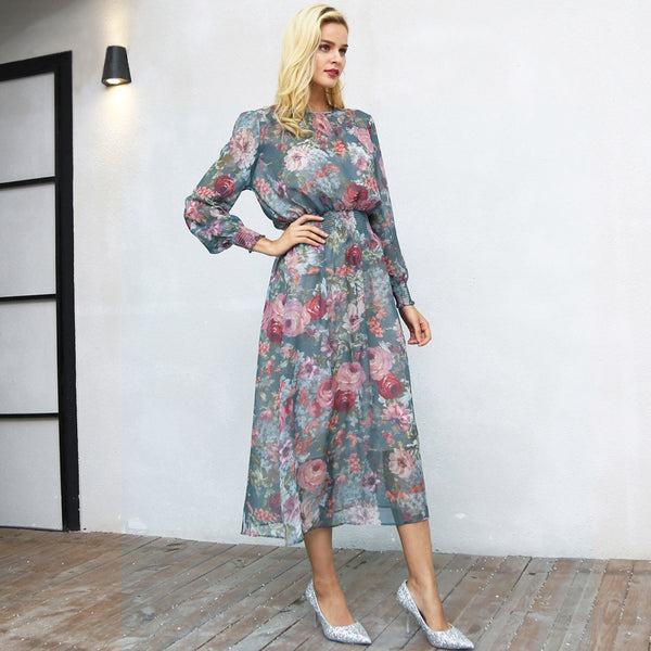 Elegant Floral Print Long O Neck High Waist Elastic Maxi Chiffon Dress