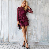 Elegant Hollow Out Ruffle Lace Vintage Long Sleeve Slim Short Dress