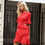 Elegant Hollow Out Ruffle Flare Sleeve Red Fashion Winter Dress