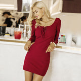 Elegant Lace Up Knitted Long Sleeve Casual Wine Red Sweater Dress