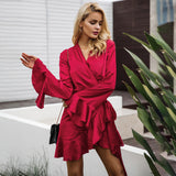Elegant Sashes V Neck Satin Ruffle Sleeve Winter Dress