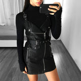 PU Leather V Neck Sash Zipper Winter Black Mini Dress