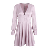 Fashion Satin V Neck Button Long Sleeve Soft Winter Short Dress