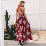 Halter backless Hollow Out Sleeveless Elegant High Waist Maxi Dress