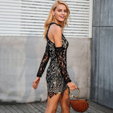 Off Shoulder Elegant Black Lace Dress